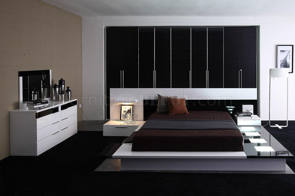 Black White High Gloss Finish Contemporary Bedroom Set