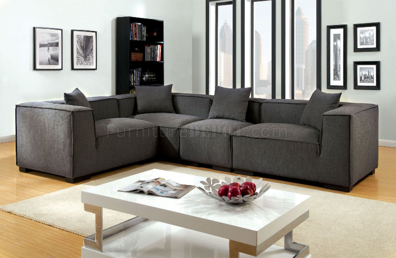 Langdon Sectional Sofa Cm6037gy In Gray Fabric W Options
