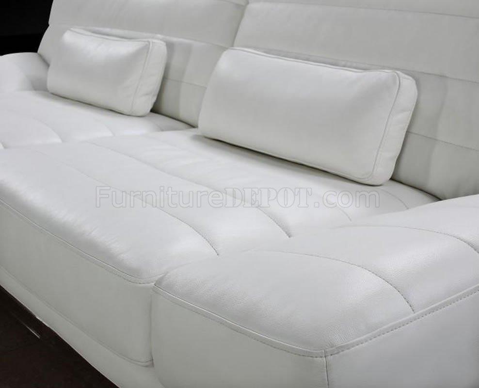 White Living Room Set For Modern Full Italian Leather 3pc Living Room Set Viper White