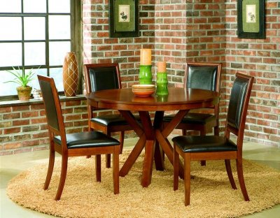 walnut finish elegant round dining room table w optional chairs crds