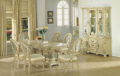 Antique Dining Tables on Antique White Finish Dining Table W Double Pedestal Base At Furniture