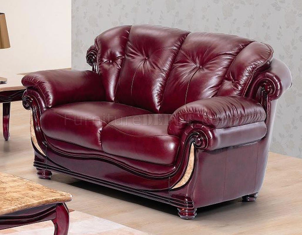 Burgundy leather stylish living room w cherry wooden trims - Fashionable recliners ...