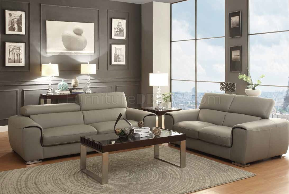 Light grey leather sofa thesofa for Light gray leather sofa