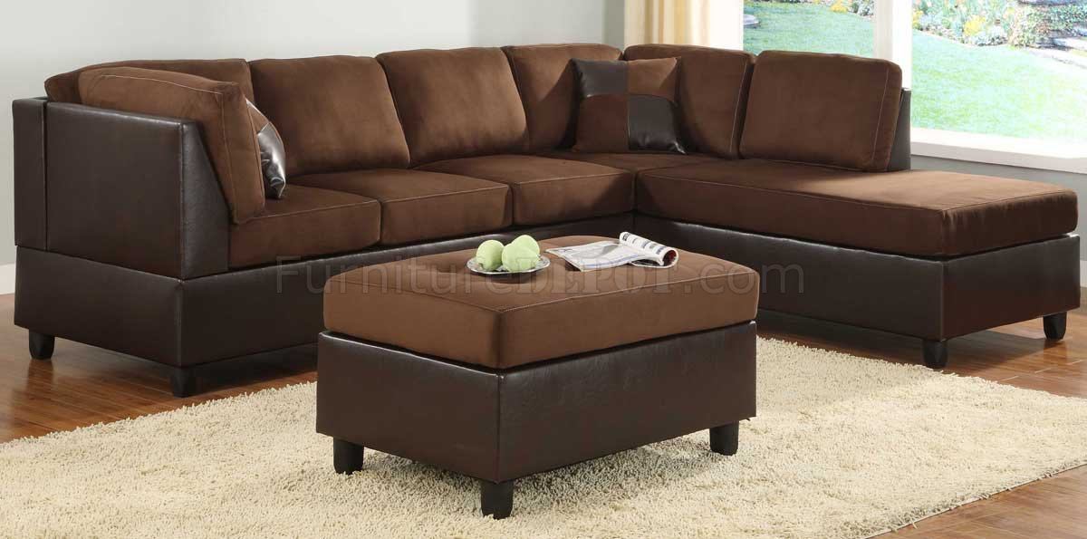 Chocolate brown sectional sofas reversible chocolate for Chocolate brown microfiber sectional sofa