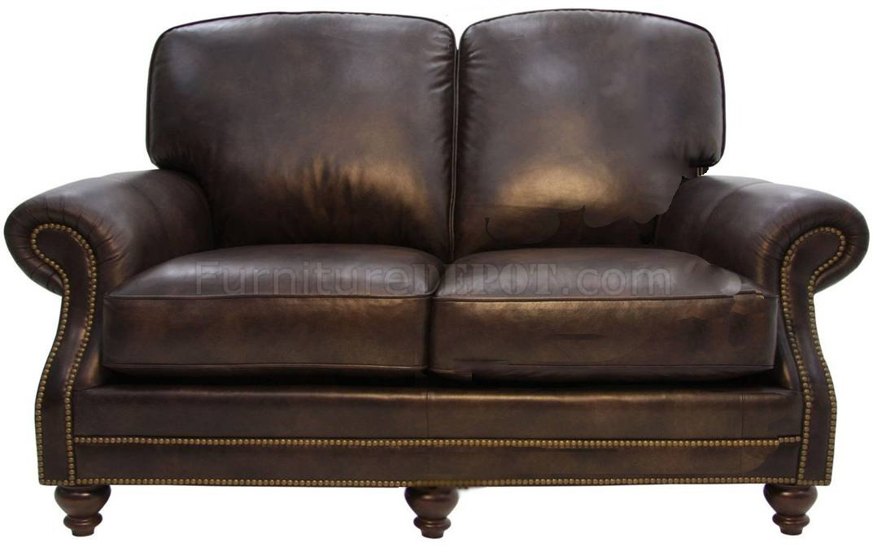 Dark Brown Top Grain Leather Living Room Sofa Loveseat Set