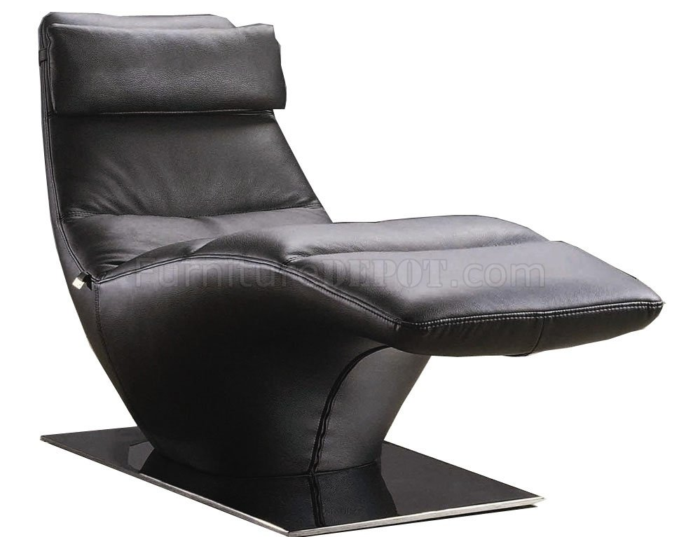 Black leather modern chaise w removable headrest metal base for Black leather chaise