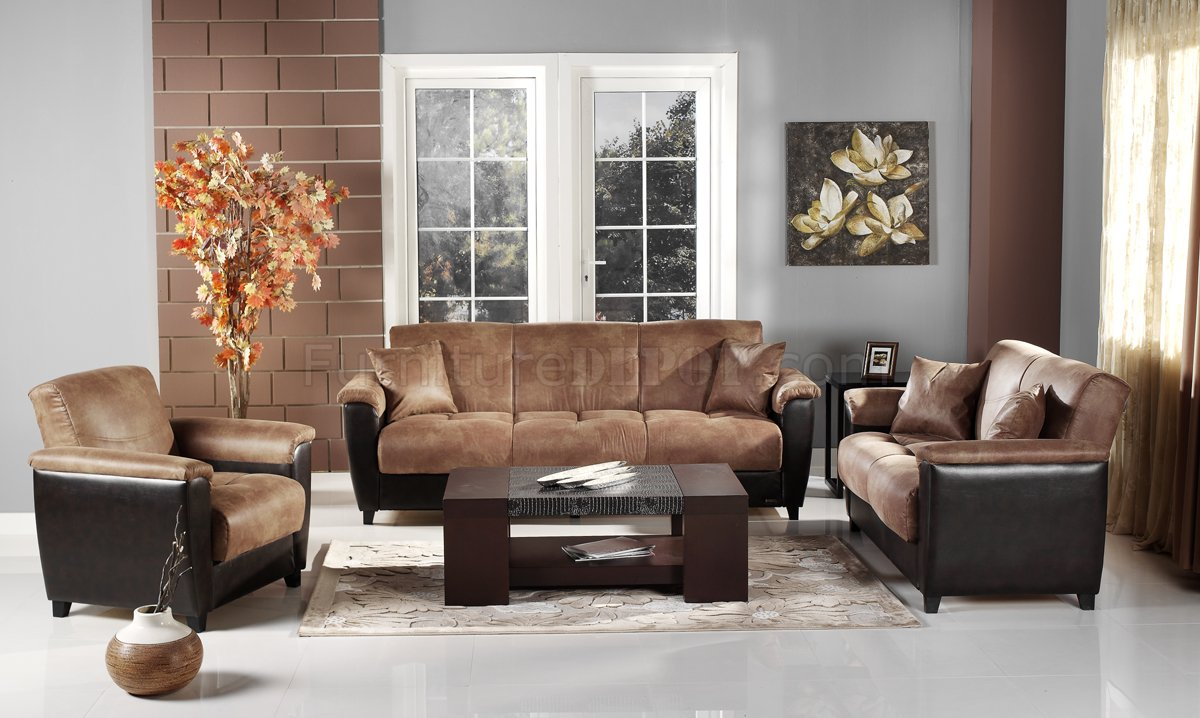 Aspen mocha microfiber two tone living room storage sleeper sofa
