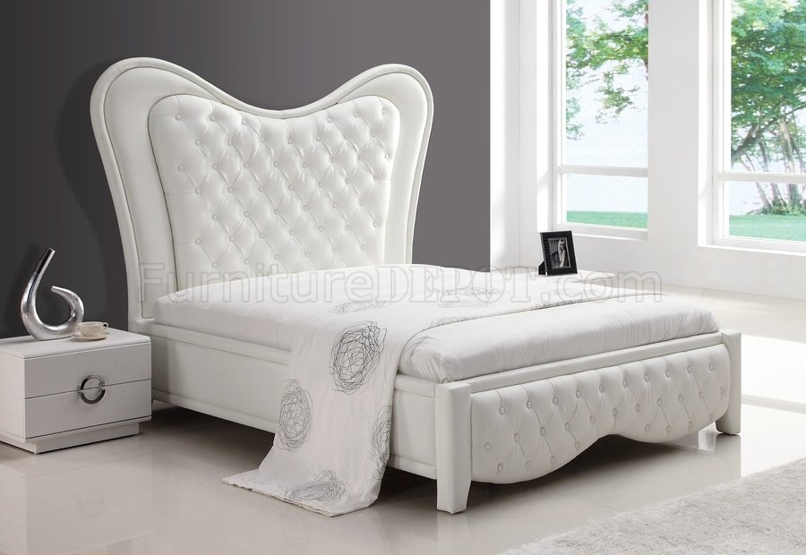 White Kenza Bed w/Tufted Headboard & Footboard