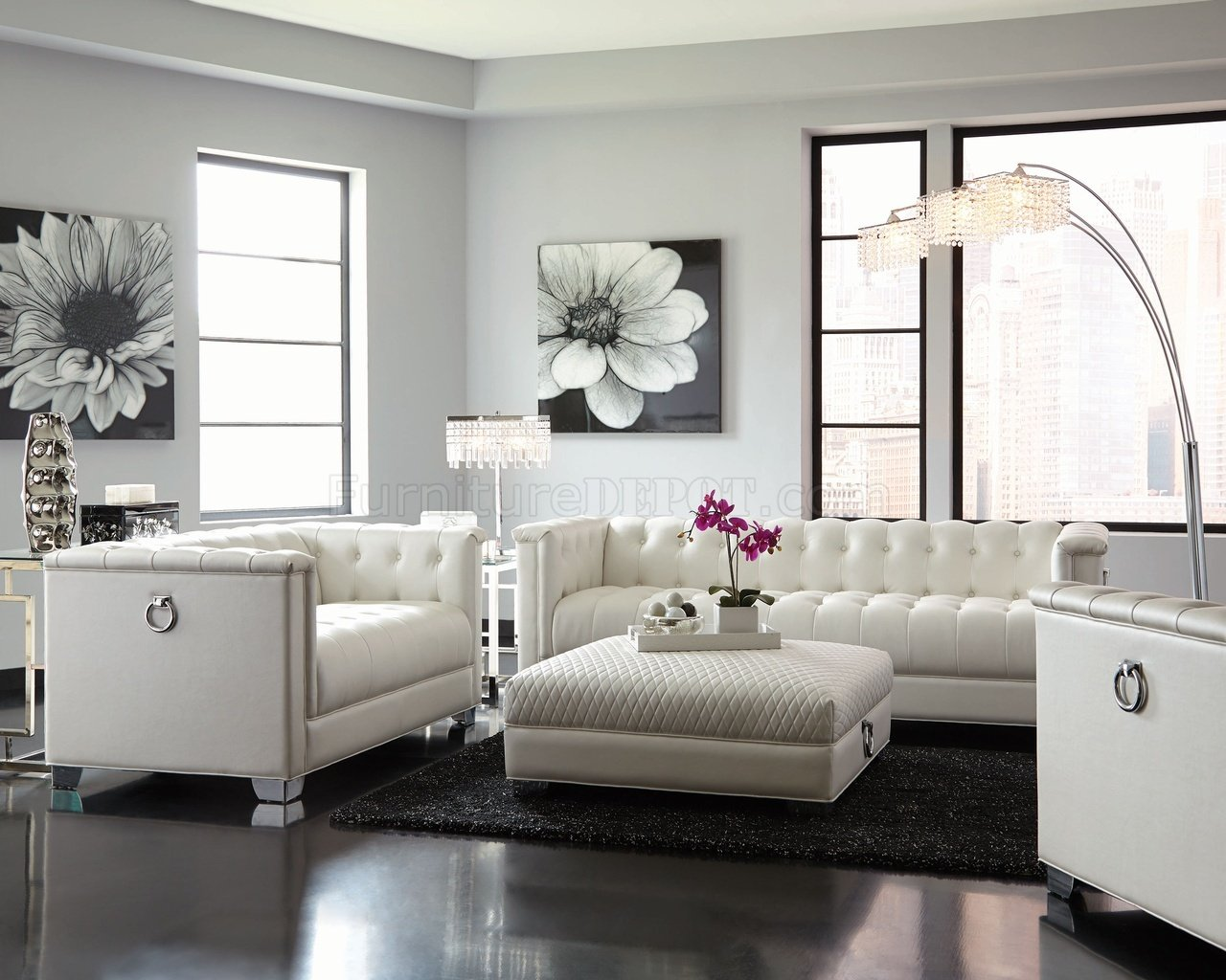 Chaviano Sofa In White Leatherette 505391 By Coaster W Options