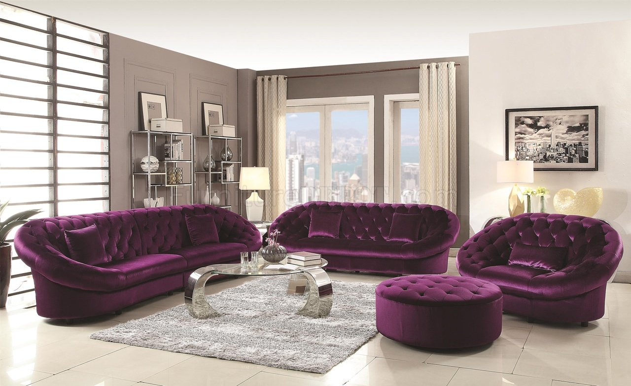 Picture of: Romanus 511045 Sectional Sofa In Purple Fabric Coaster W Options