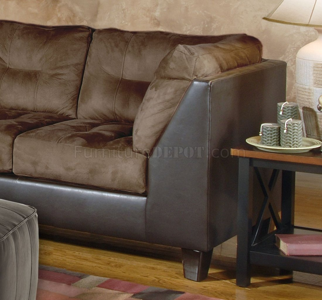 Chocolate Fabric Modern Sectional Sofa W Optional Ottoman