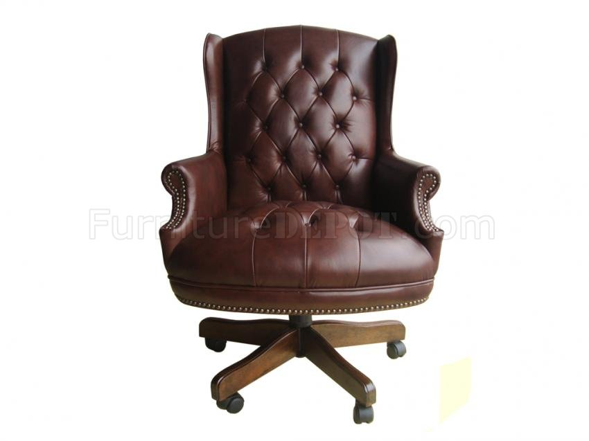 brown burgundy or black top grain leather classic office chair