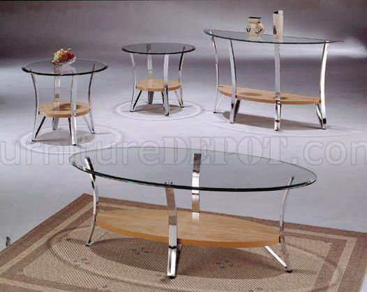 glass metal modern coffee table set w natural wood shelf
