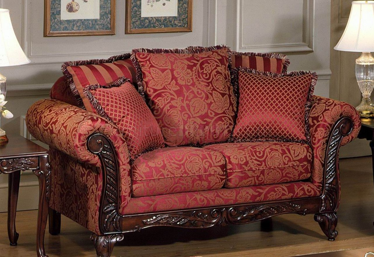 Red fabric traditional sofa loveseat set w optional chaise Red sofas and loveseats