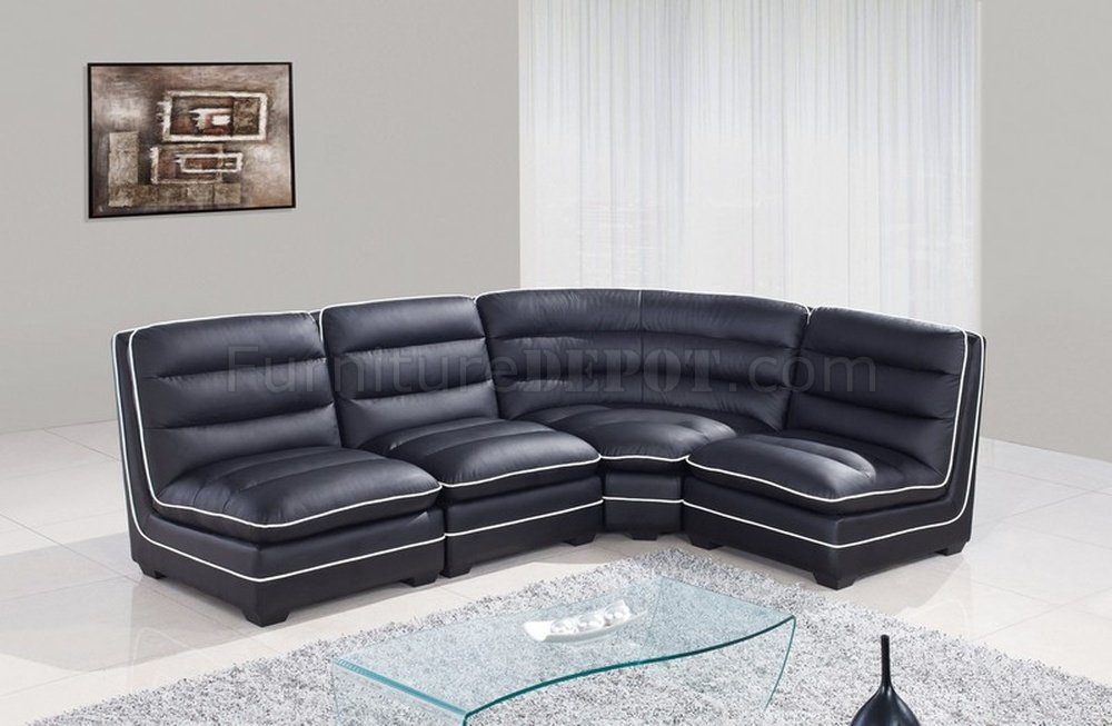 Sectional Sofa Black Bonded Leather Global Furniture USA