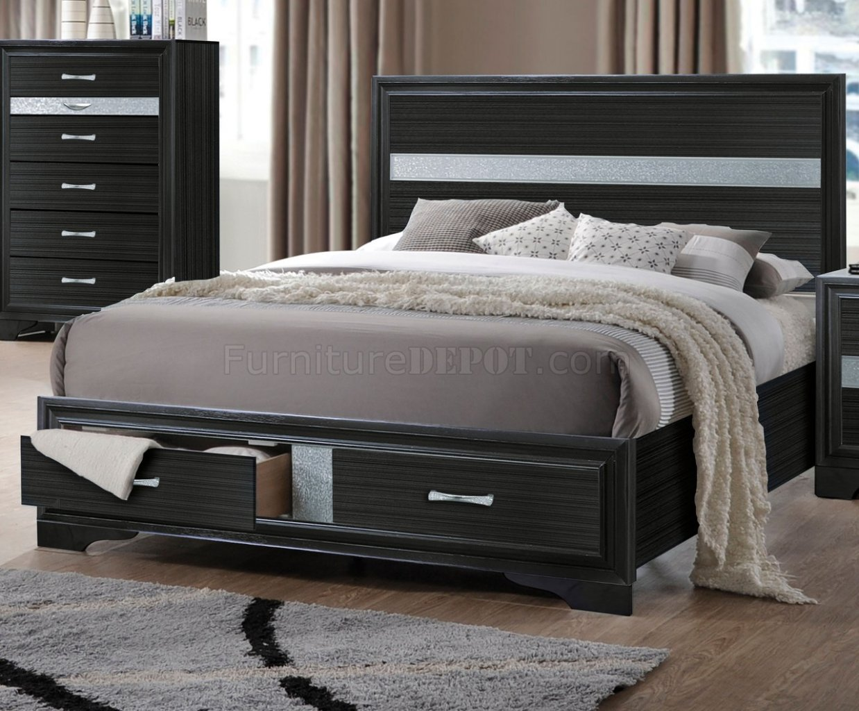 Contemporary Bedroom Set London Black By Acme Furniture: Naima Bedroom Set 5Pc 25900 In Black By Acme W/Storage Bed