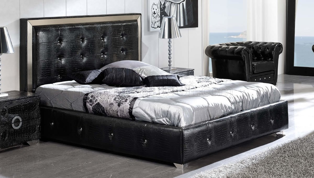 black faux leather modern platform bed wstorage