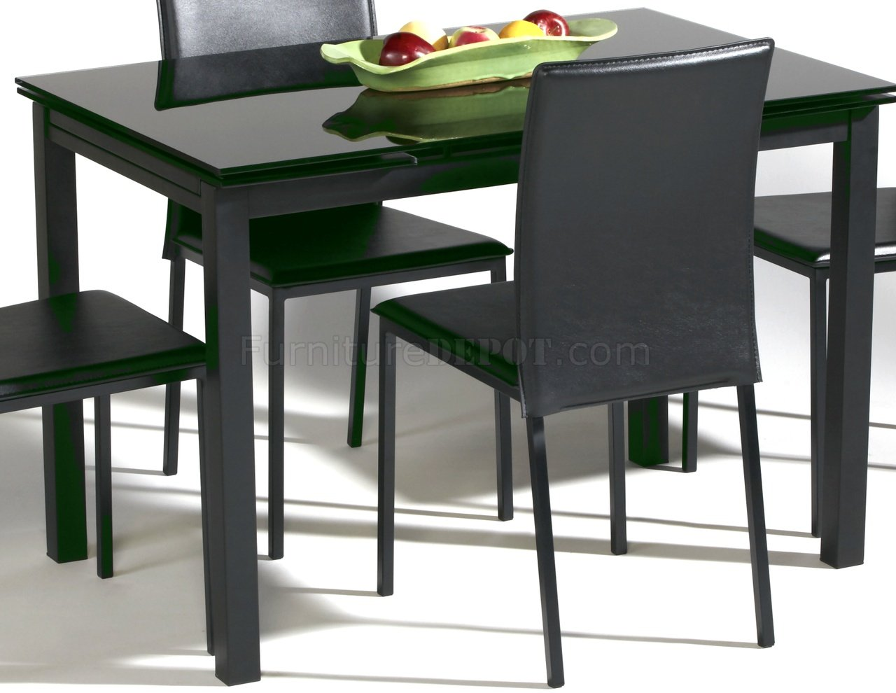 Black Glass Top Modern Dining Table W/Optional Chairs