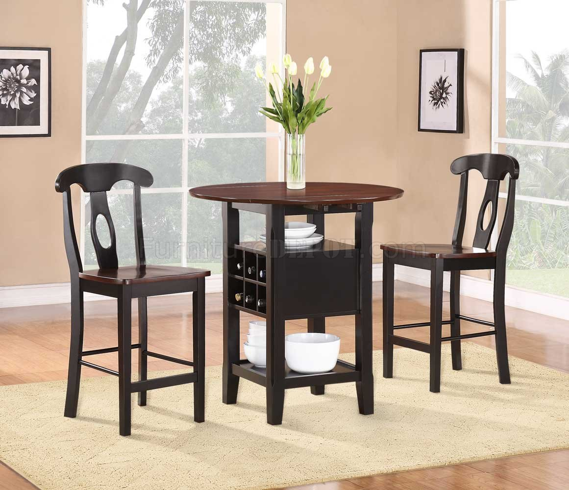 3 Pcs Modern Counter Height Dining Set Table And 2 Chairs: 2505BK-36 Atwood 3Pc Counter Height Dining Set By Homelegance