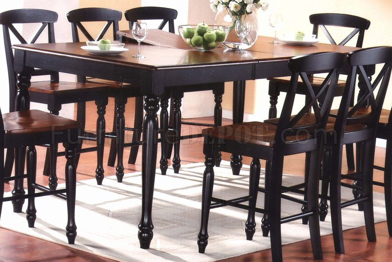 two tone finish modern 9pc counter height dining set. Black Bedroom Furniture Sets. Home Design Ideas