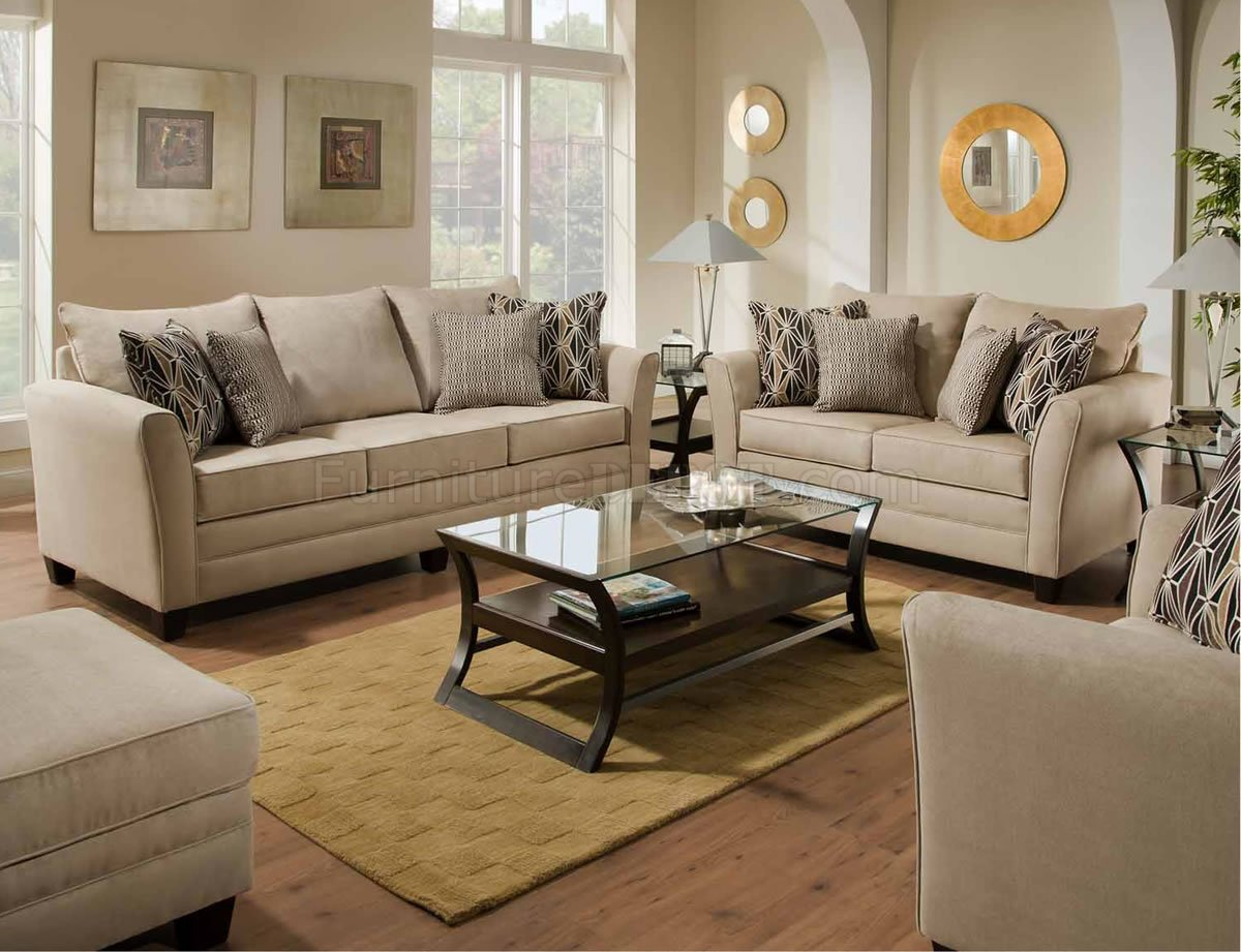 Beige Jute Microfiber Modern Sofa