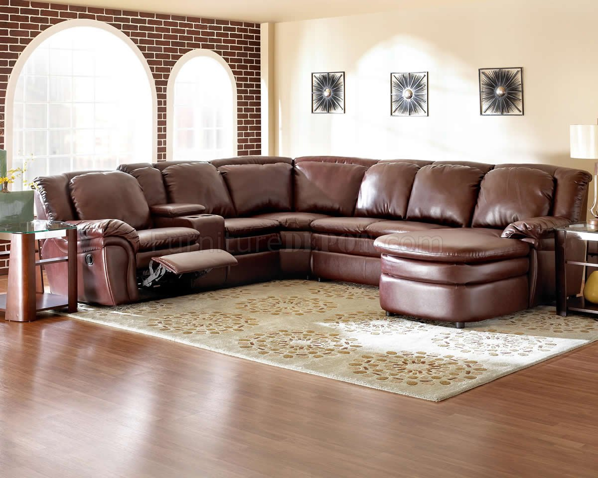 Burgundy Bonded Leather Reclining Sectional w Console Unit