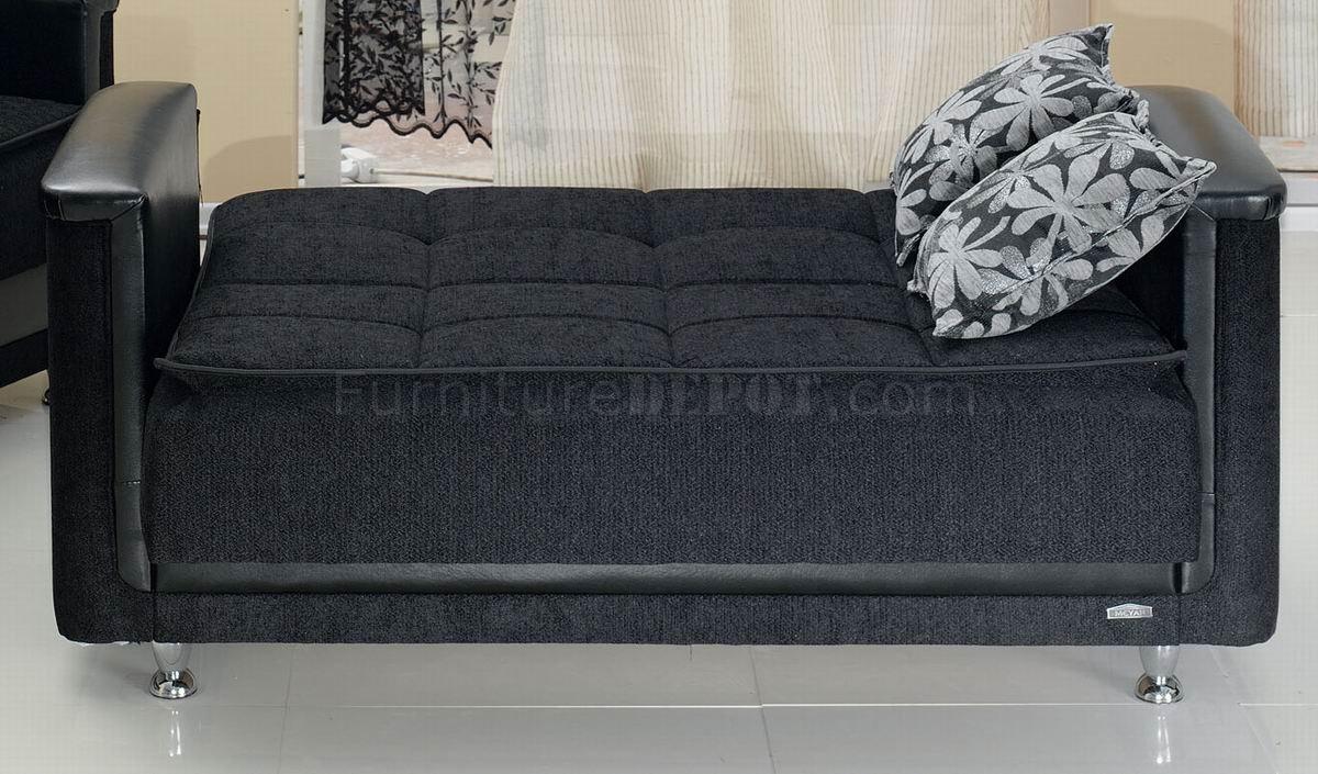 Dark grey fabric modern sofa bed convertible w options for Sofa bed 549 artek