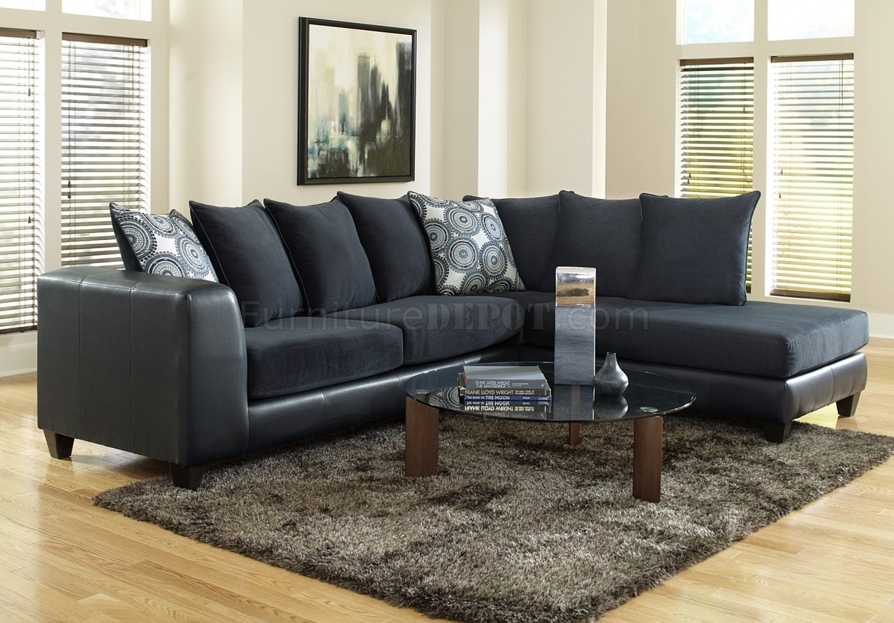 4502 Sectional Sofa In Blue Microfiber Amp Bi Cast