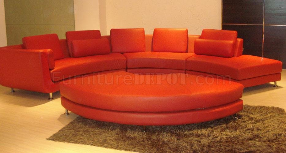 Charmant A94 Red Half Leather Modular 4PC Sectional Sofa By VIG