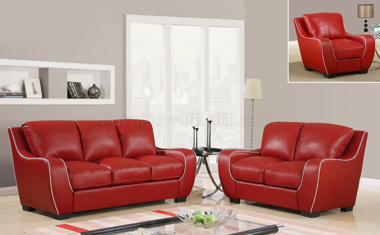 U8080 Sofa In Red Bonded Leather By Global Furniture Usa
