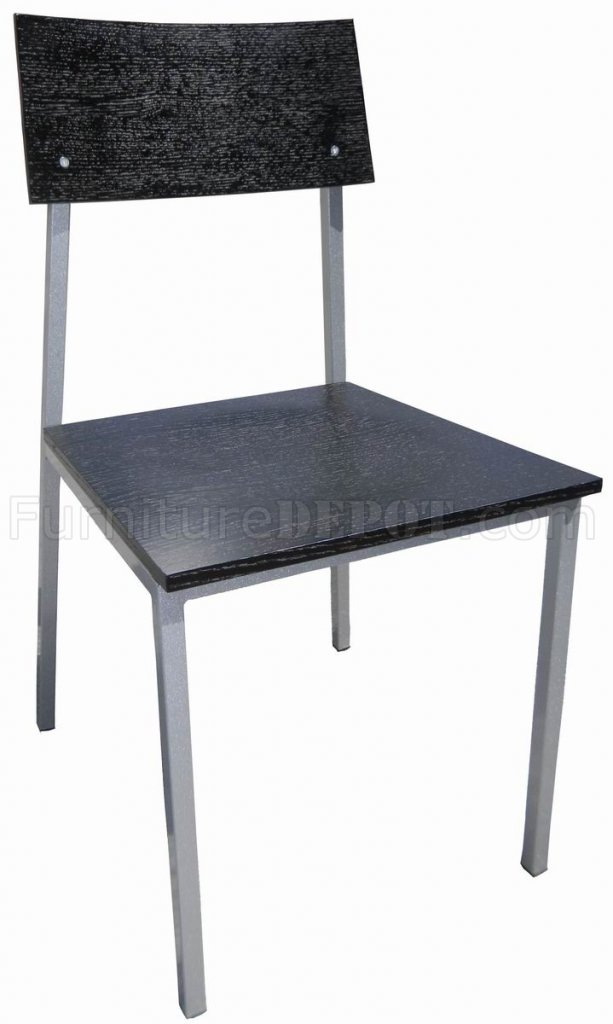Wenge Wood Set of 4 Modern Dining Chairs w/Metal Legs