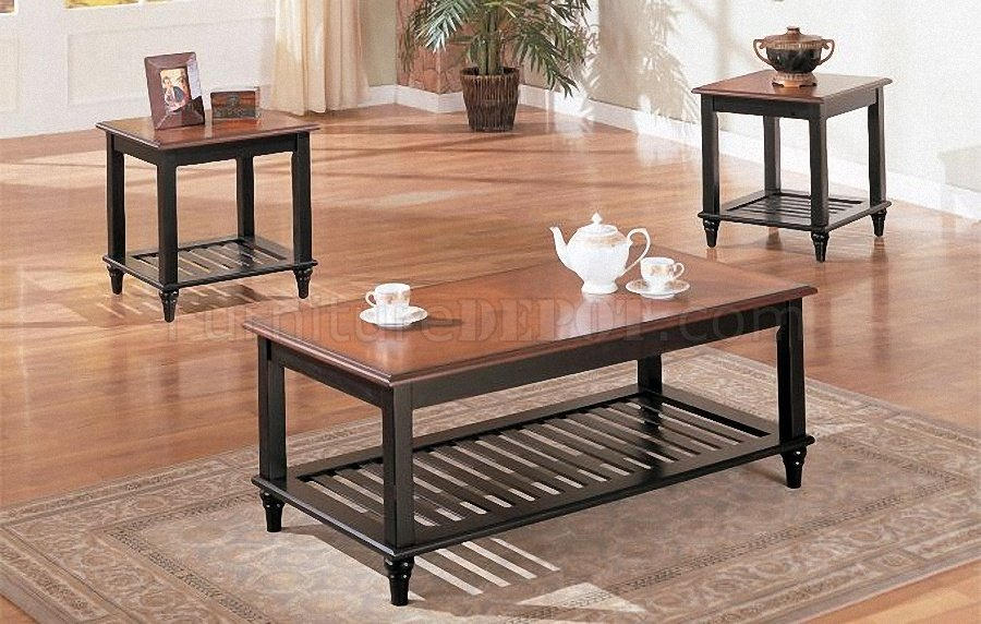 black oak wood finish classic 3pc coffee table set p