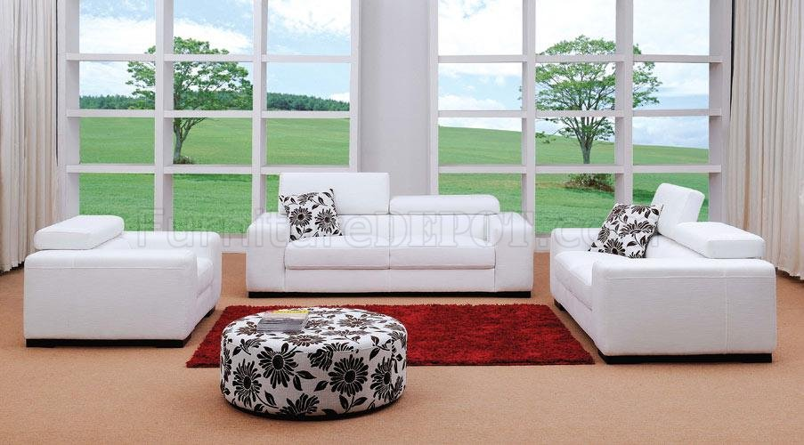White Fabric 3PC Modern Living Room Set W/Ottoman