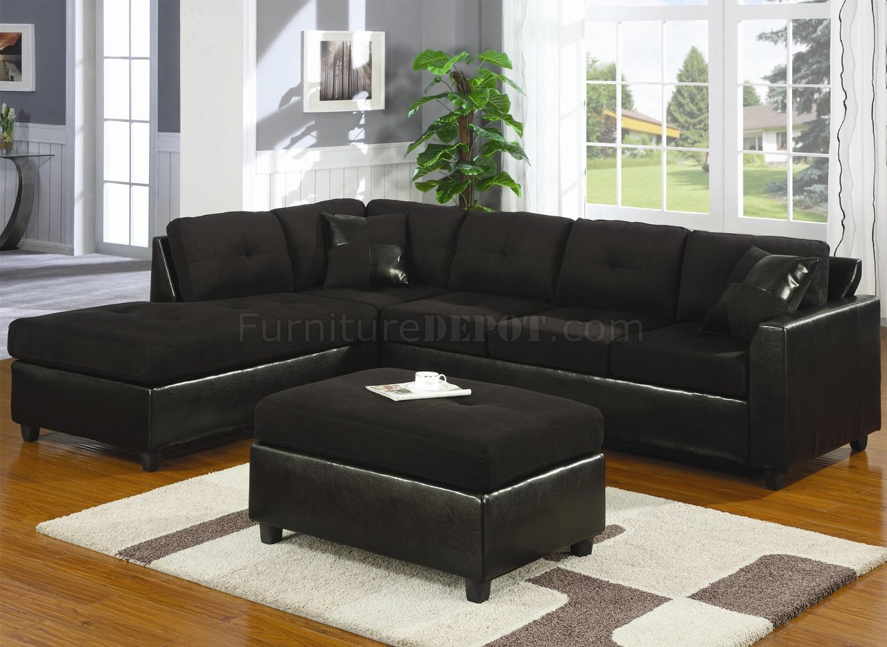 Black Microfiber Faux Leather Contemporary Sectional Sofa