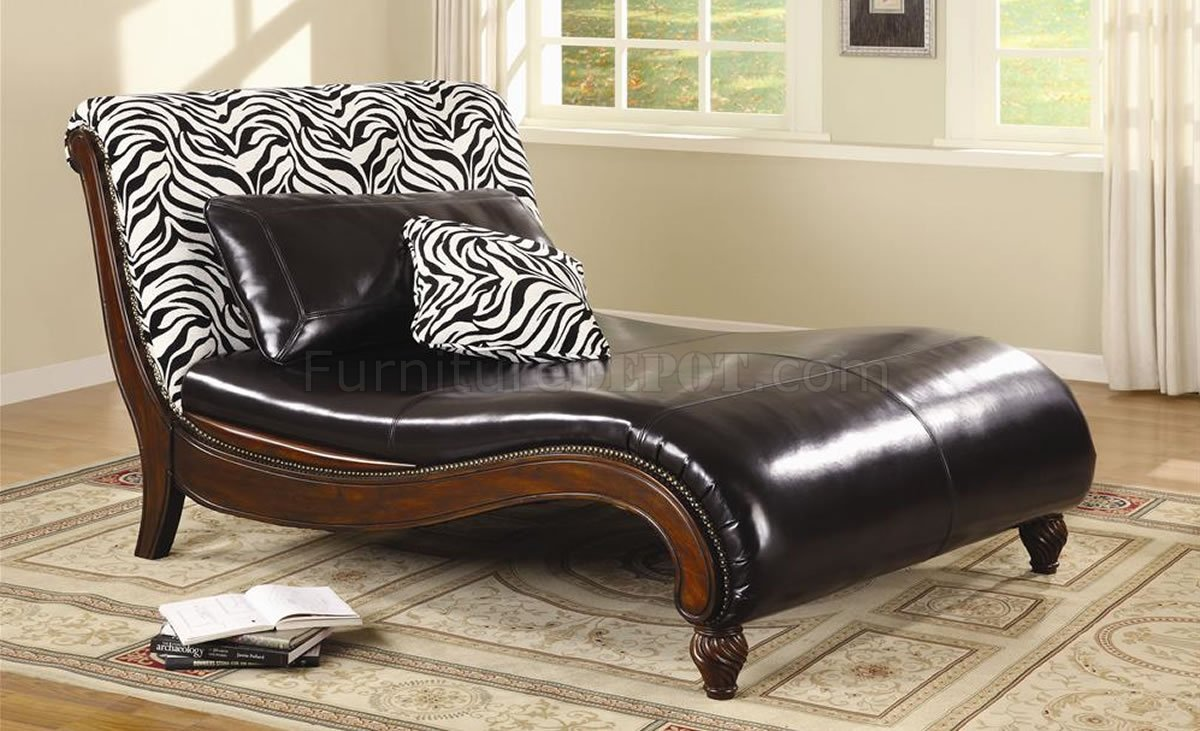 Dark brown bycast leather stylish chaise lounge w zebra back for Brown leather chaise lounge