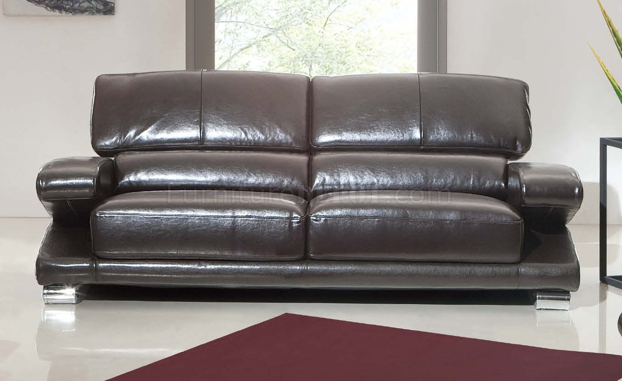 Dark Brown Top Grain Leather Modern Sofa W Options