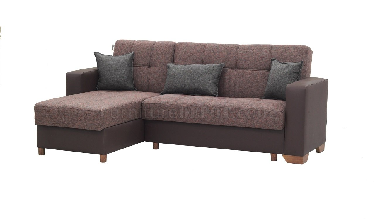 Lego sectional sofa convertible in brown microfiber by rain for Microfiber sectional sofa