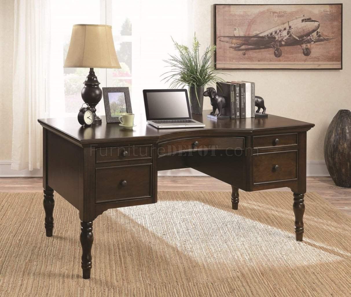 Home Office Furniture Fort Worth: 800850 Writing Desk In Chestnut By Coaster