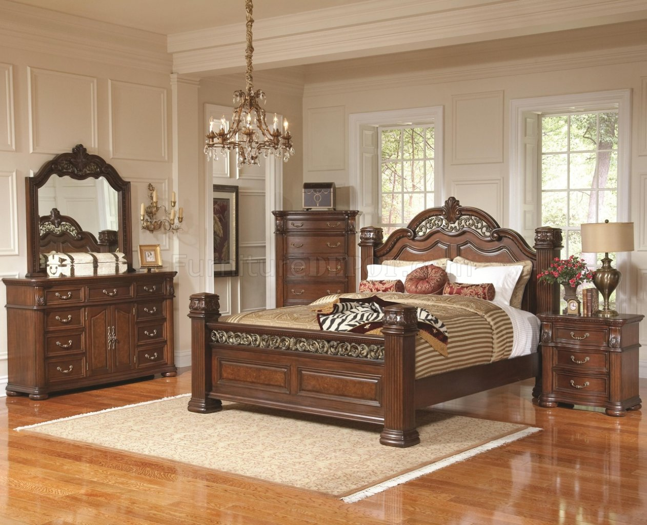 rich brown finish traditional bedroom w optional casegoods crbs 201821