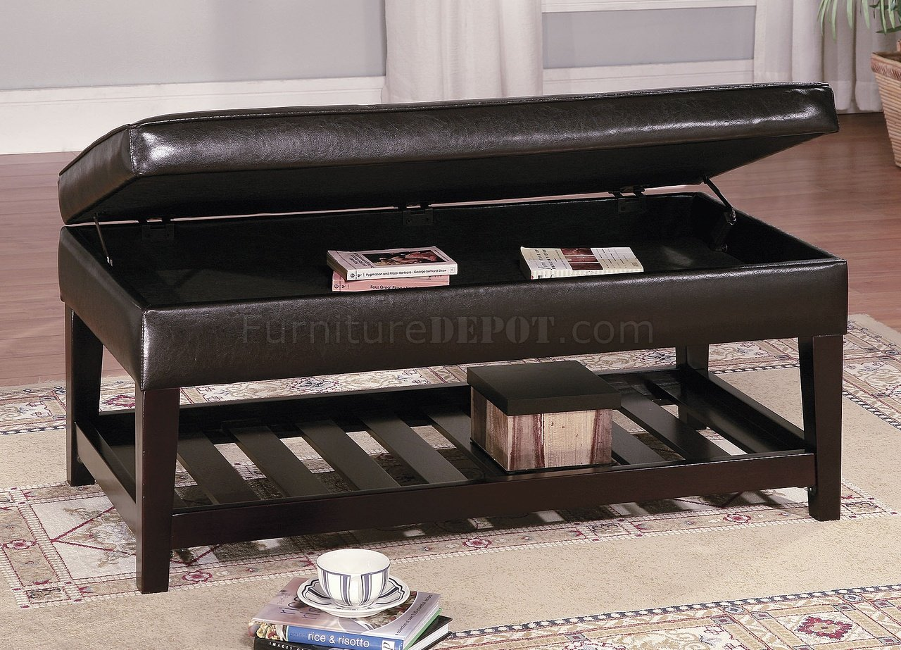 Brown Leather Top Bench Coffee Table w/Shelf & Slat Storage Base