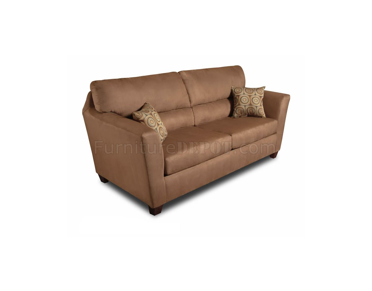 Camel Microfiber Modern Casual Sofa Loveseat Set W Options