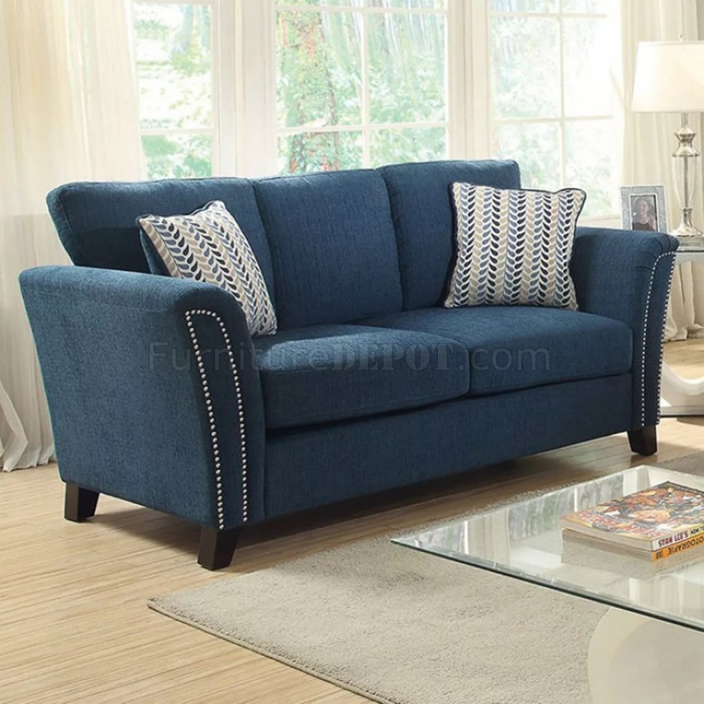 Campbell Sofa Cm6095tl In Dark Teal Fabric W Options