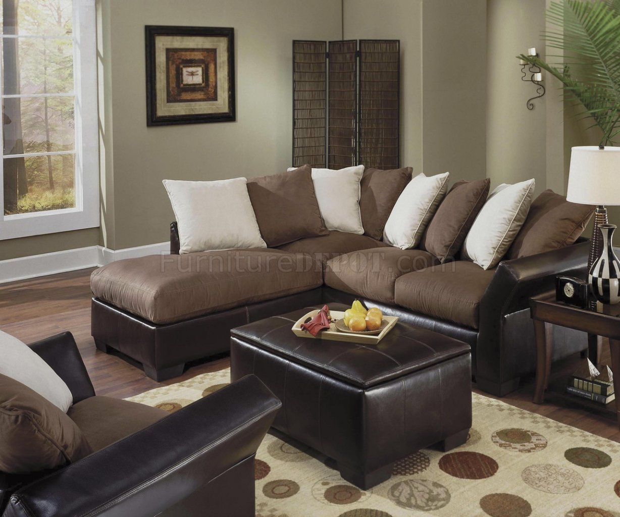 Best Contemporary Vinyl Leather & Mocha Micro Suede Sectional PF81