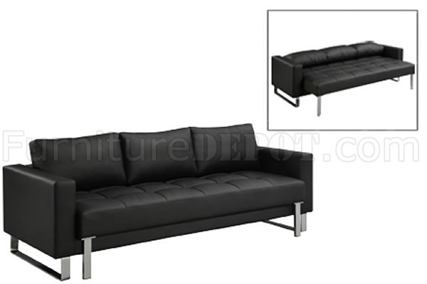 Black Faux Leather Contemporary Sofa Bed W/Tufted Seat