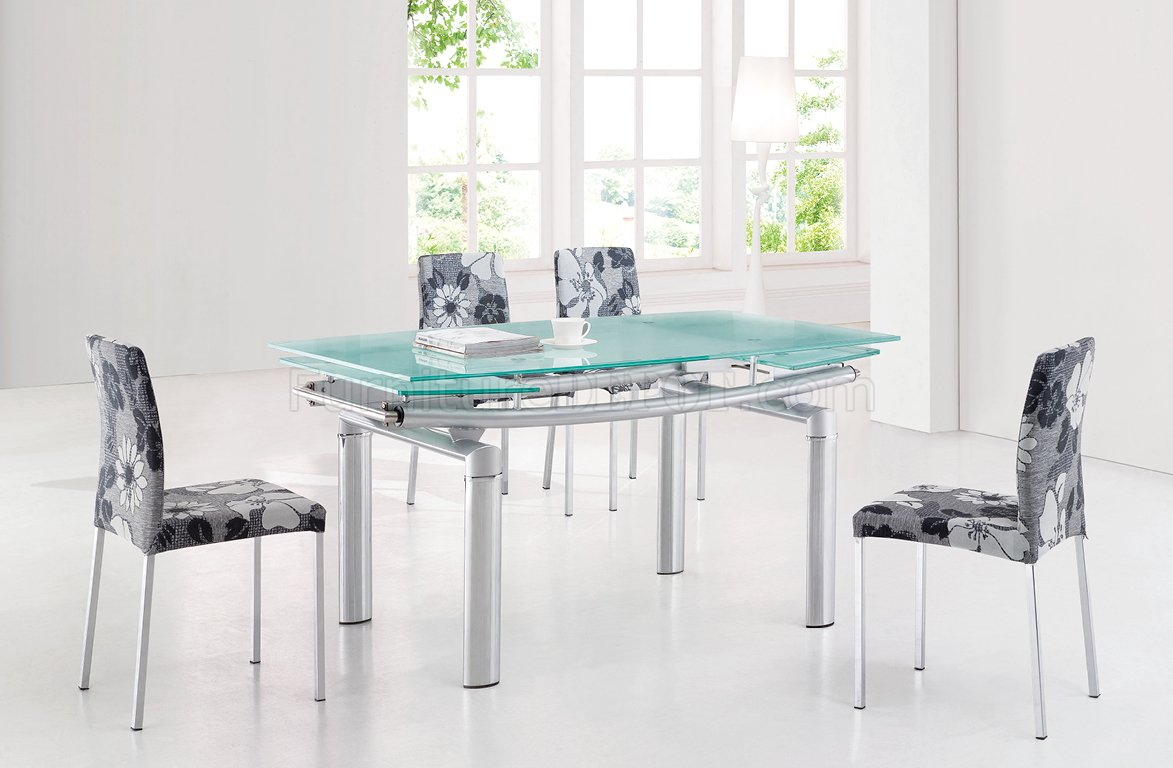 Gl Top Modern Dining Table W Extension Leaf Options