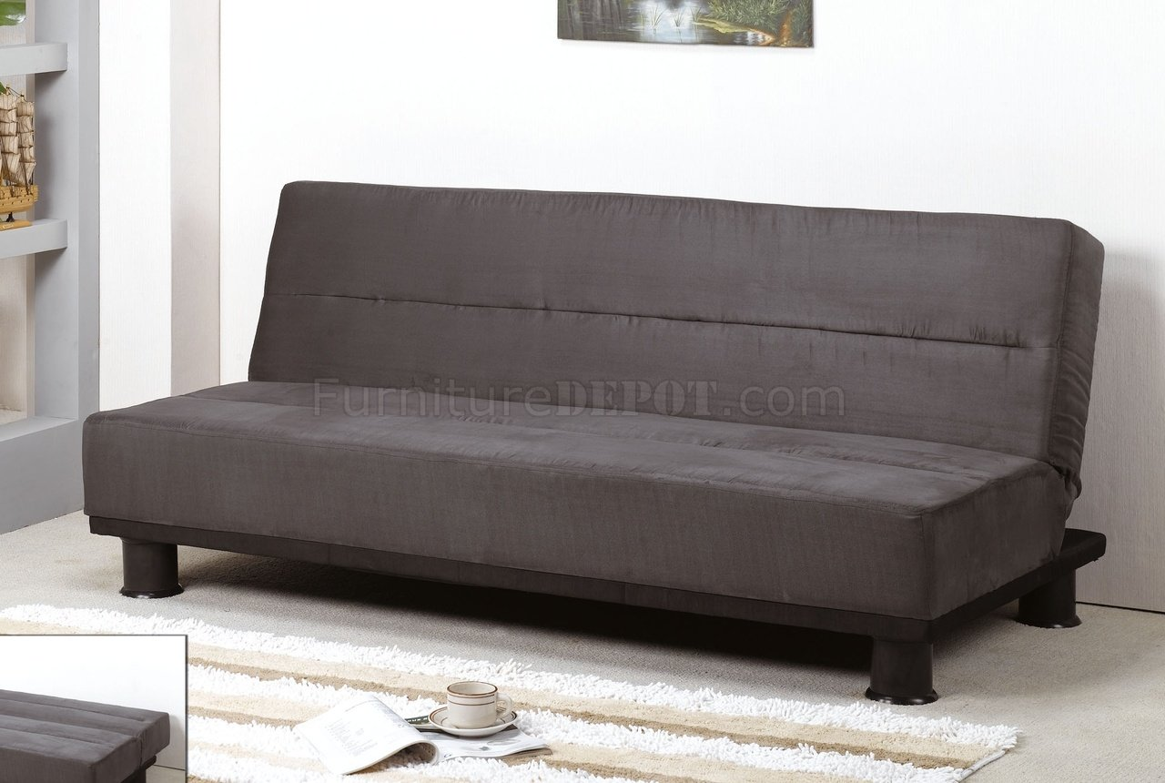 Grey Micro Suede Contemporary Sofa Sleeper W Black Canister Legs