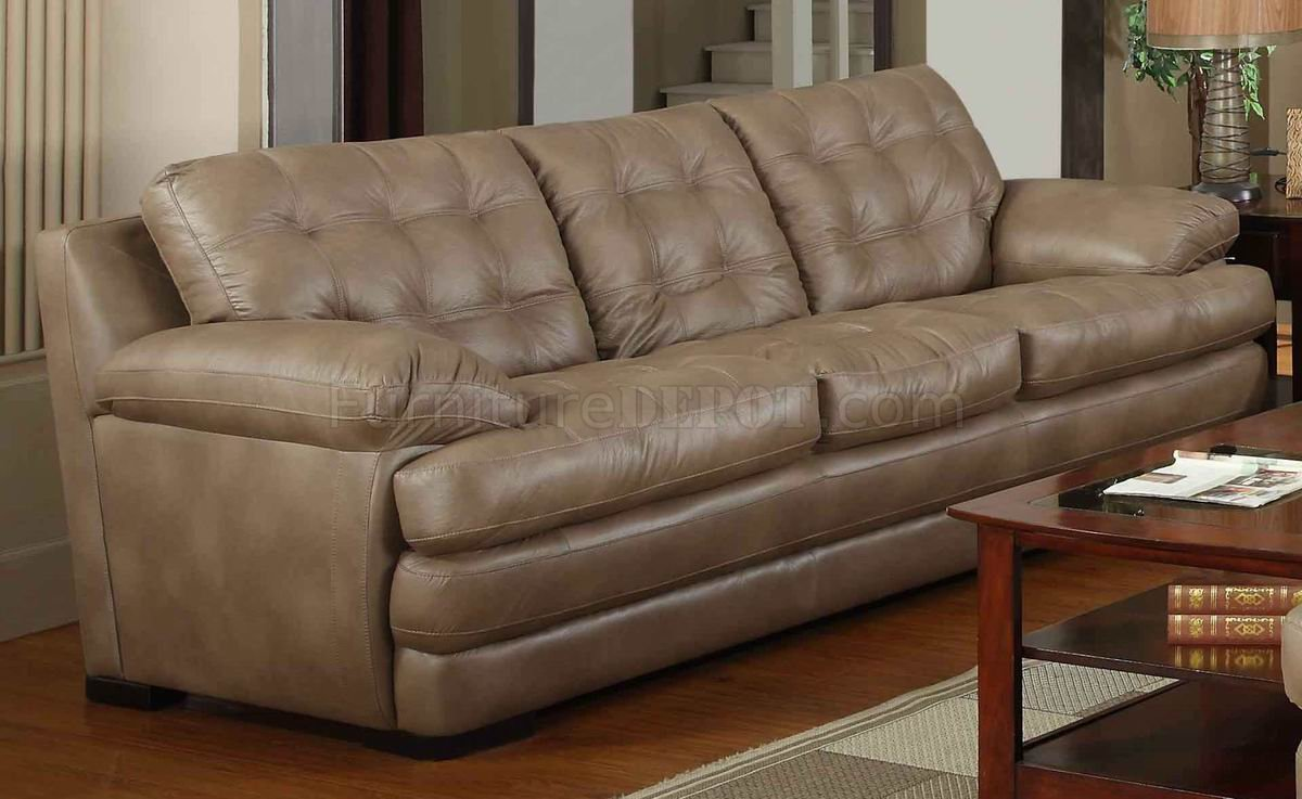 Dark Beige Bonded Leather Modern Sofa Loveseat Set W Options