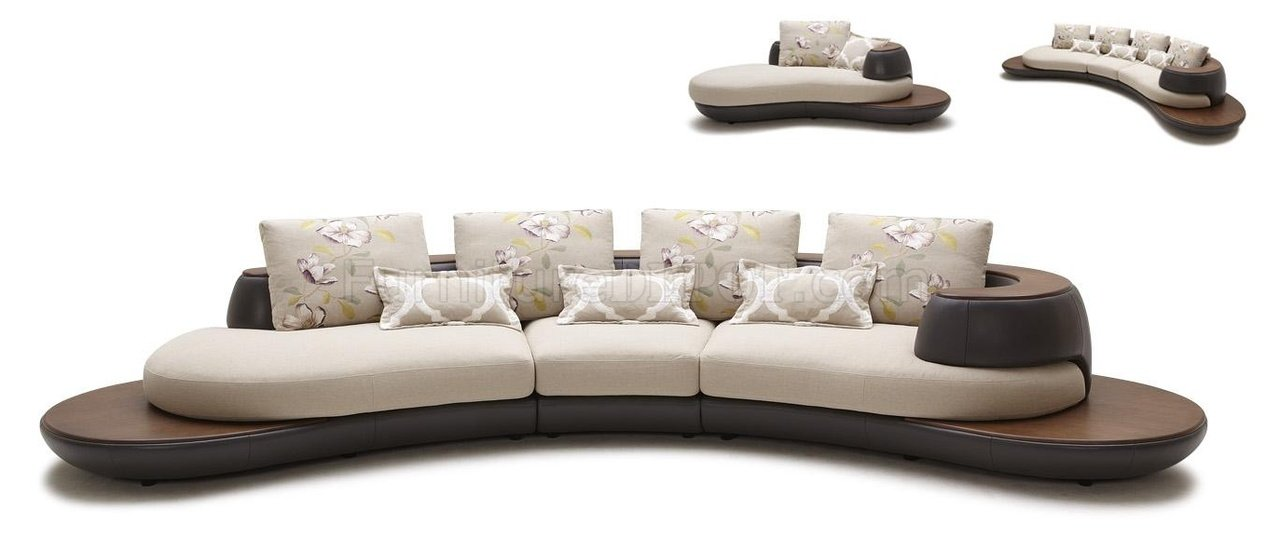 Beige & Brown Fabric & Leather Modern Sectional Sofa w/Chaise