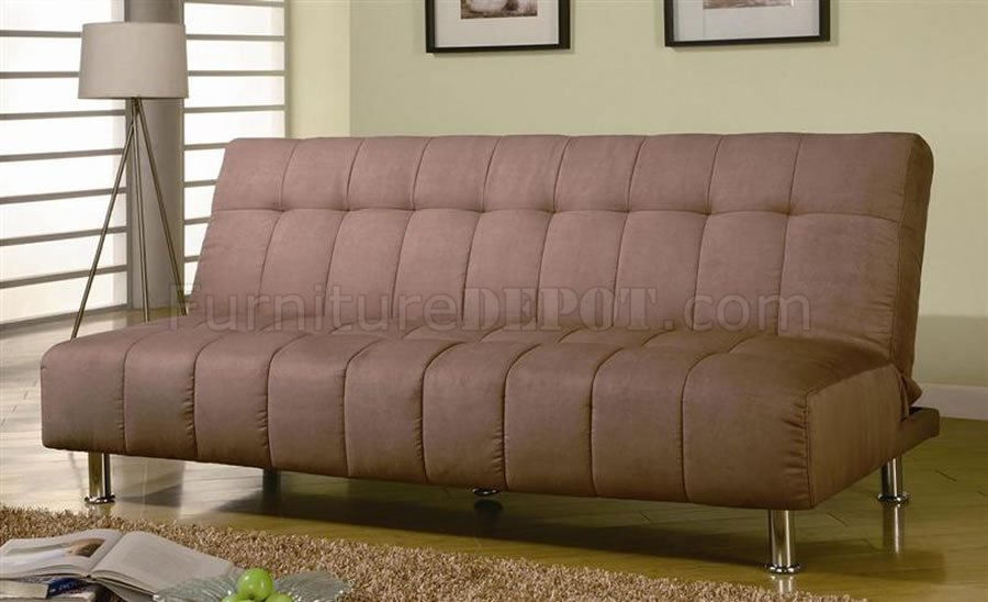 Tan Microfiber Modern Convertible Sofa Bed
