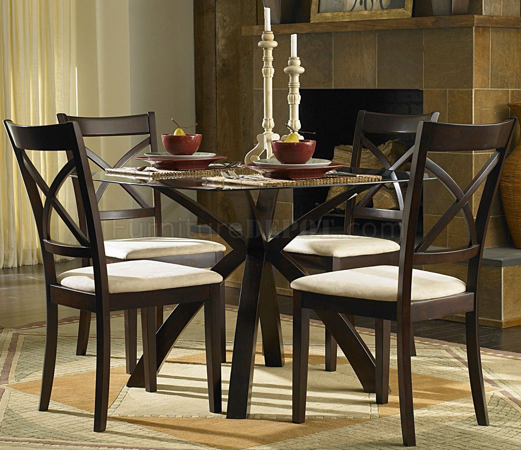Warm cherry finish round glass top modern 5pc dining set for Contemporary dining set